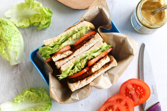 Tofu Bacon Lettuce and Tomato Sandwich