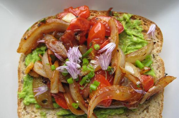 Avocado Toast with Caramelized Sweet Onion and Grape Tomatoes via Arsenic and Old Place