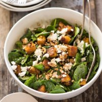 Try This---Roasted Pumpkin Salad With Spinach and Feta