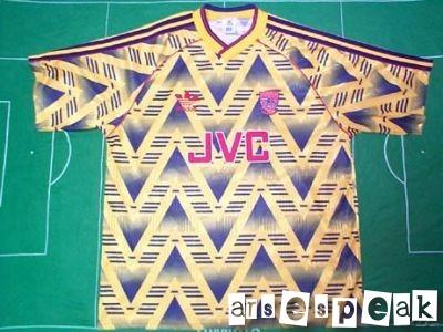 arsenal away kit 1991 - 93