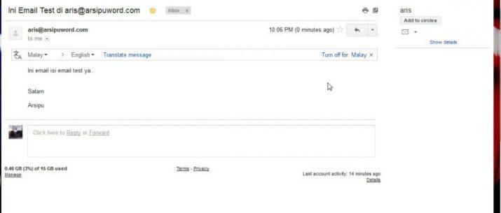 Email masuk dari webmail