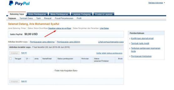Dashboard Rekening paypal image