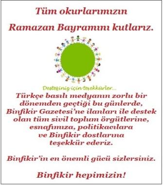 Tüm okurlarımızın Ramazan Bayramını Kutlarız