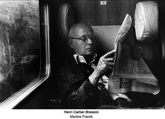 Henri Cartier-Bresson on a train ride to Montreaux in Switzerland, 1976.