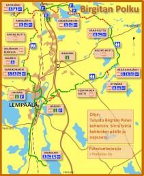 Oma reittini meni Lempäälän keskustasta polun itäistä osuutta pitkin, josta erkaannuin Hervantaan. Lähde: http://www.lempaala.fi/opetus_ja_vapaa-aika/liikunta/birgitan_polku/