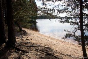 Ennen Helvetinjärven kansallispuistosta poistumista pulahdettiin Haukkajärvellä uimassa. Vesi oli jo lämmintä.