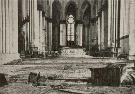 Interior of Reims Cathedral after 1914 bombings