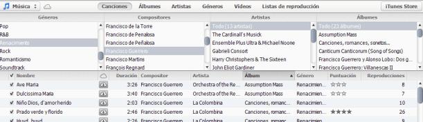Compositores a través de Canciones en iTunes 11