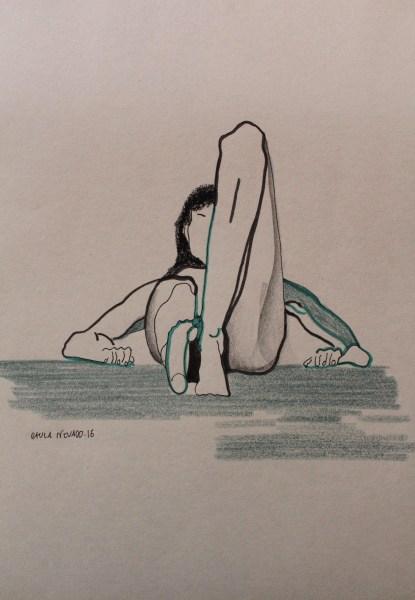Mujer en lápiz, rotulador, cera y rotring