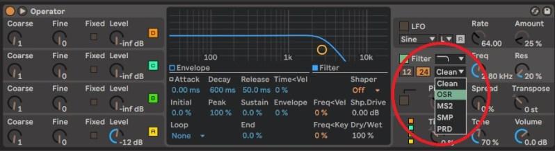 Filtres disponibles sur le synthétiseur Operator Ableton