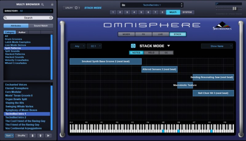 Polyphonie en split patch sur Omnisphere (mode Stack)
