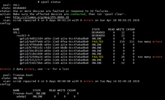 FAULTED Hard Drive in FreeNAS