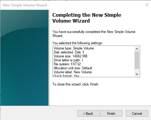 Completing Simple Volume Wizard
