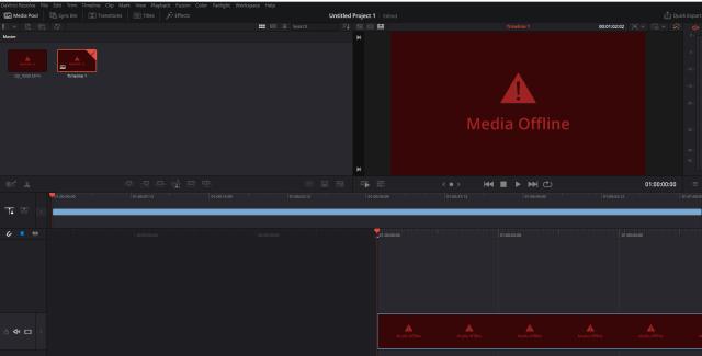 davinci resolve media offline h265