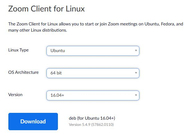 Download zoom for ubuntu