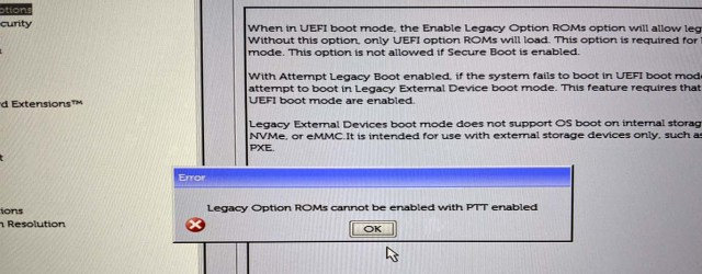Legacy option ROMs cannot be enabled