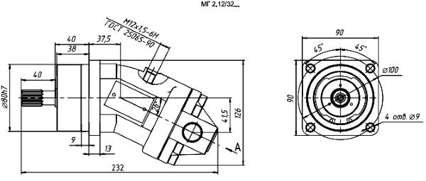 Чертеж насос-мотора МГ2.12/32Б