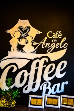 Cafe De Angelo wall painted with Black and White theme