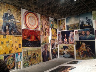 View of the Whitney Biennial 2014 with works by Keith Mayerson, Whitney Museum of American Art, New York, 2014.