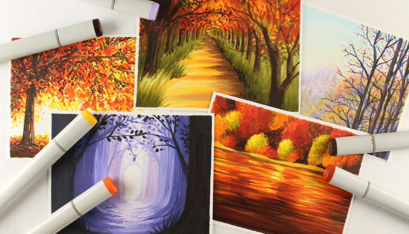 Mini Copic Course: Autumn Scenes