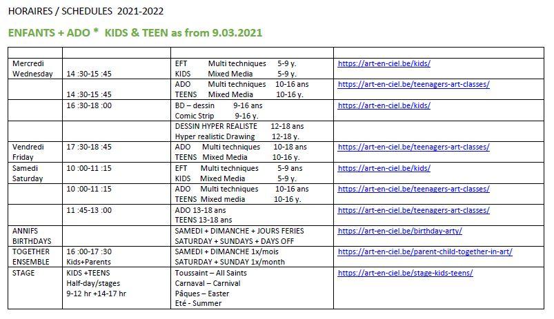 ArtEnCiel Horaires Enfants-Adultes - Schedules 2021-22