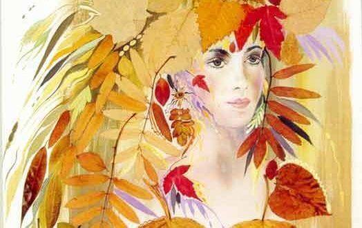Аппликация и поделки из сухих листьев: картинки цветов на ...