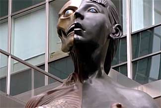 Damien Hirst's 35ft-tall statue of a young pregnant woman. Screen  capture from The Mona Lisa Curse.