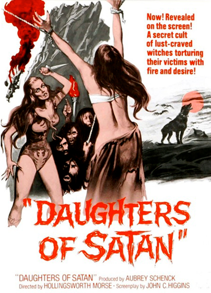 "Movie poster for the low-budget 1972 American horror film, ""Daughters of Satan."" The low-brow kitsch aesthetics embodied in this poster animates the ""high-art"" of Abramović."