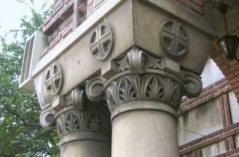 Орнамент колонны Ордера столба на церкви Elefterie, Бухаресте, Румынии.
