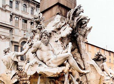 Фонтан Четырех Рек, мраморный фонтан Джана Лоренцо Бернини, 1648-51; Пьяцца Навона, Рим.