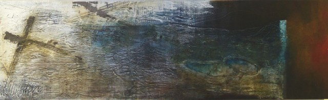 """Blue Hole by Carole Kohler """"Dimension H 60 * W 200 * D 4.5 cm """" – Acrylic on Canvas – Mixed Media, natural fibers, and Pigments"""