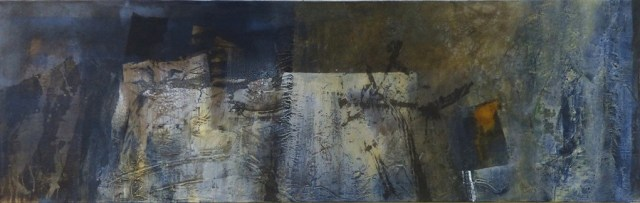 """Denim by Carole Kohler """"Dimension H 60 * W 200 * D 4.5 cm """" – Acrylic on Canvas – Mixed Media, natural fibers, and Pigments"""