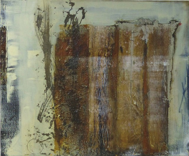 """Sackgasse ***Sold*** by Carole Kohler """"Dimension H 90 * W 110 * D 4.5 cm """" – Acrylic on Canvas – Mixed Media, natural fibers, and Pigments"""