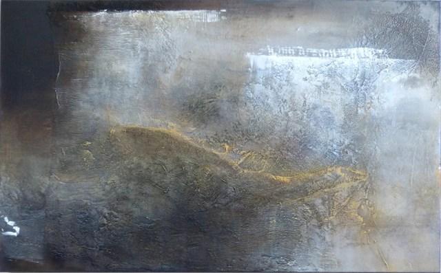 "Feldlinie_b by Carole Kohler ""Dimension H 90 * W 150 * D 4.5 cm "" – Acrylic on Canvas – Mixed Media, natural fibers, and Pigments"