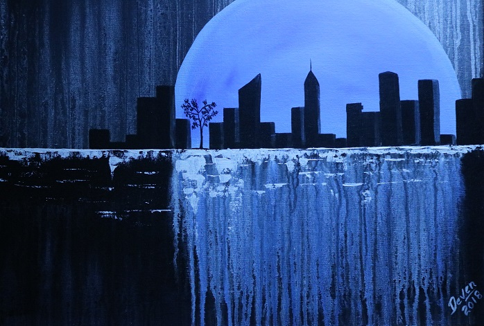 Blue moon city scape
