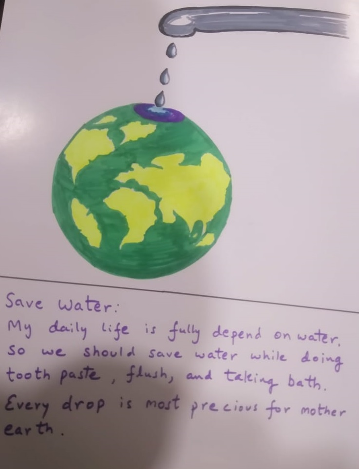 An attempt to save water sketch/message by a 6 years old student 'Devansh Gupta'