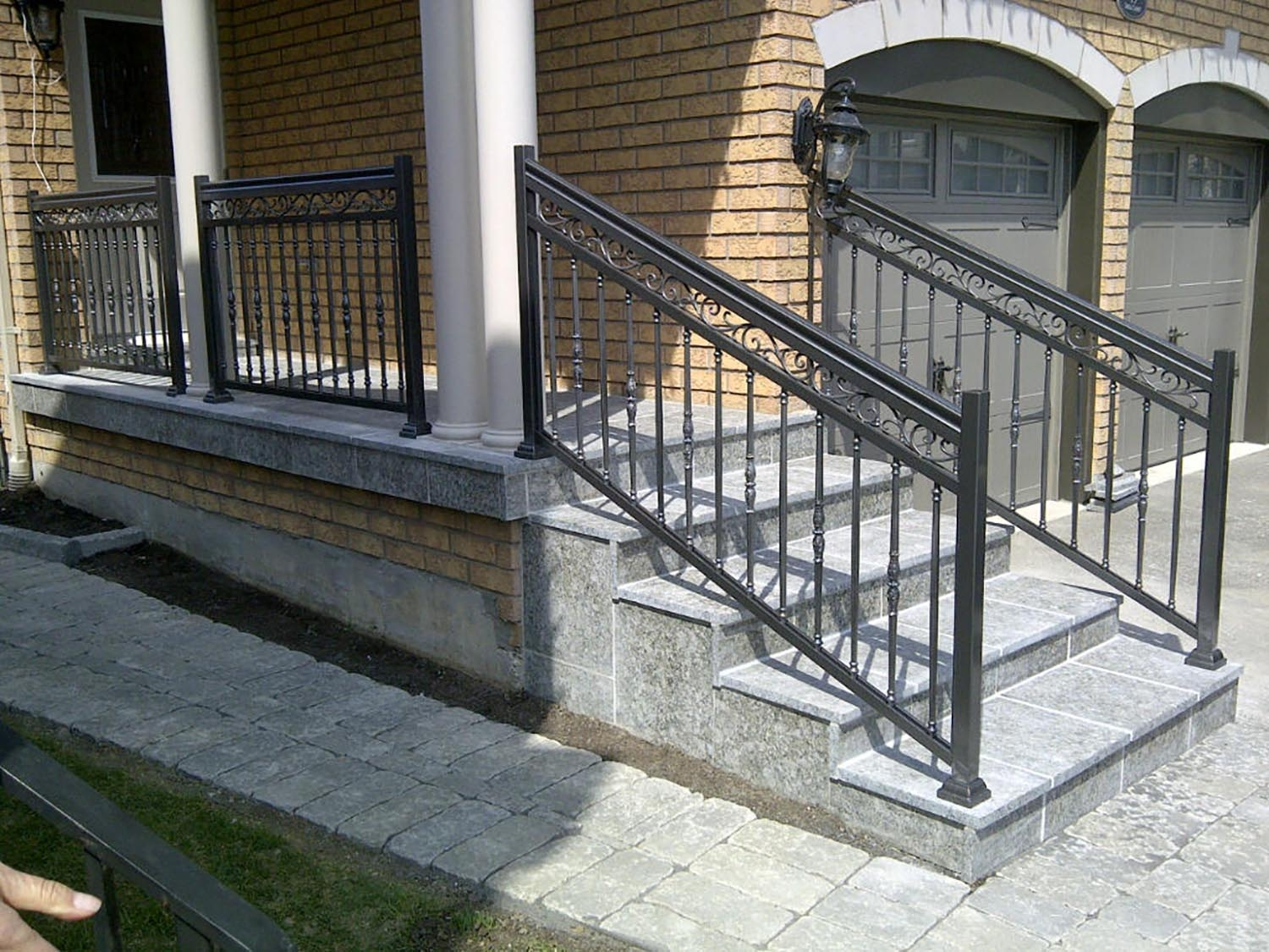 Aluminum Stair Railings In Toronto And Gta | Aluminum Outdoor Stair Railing | 2 Step | Pressure Treated Deck Black | Commercial | Modern | Front Entrance