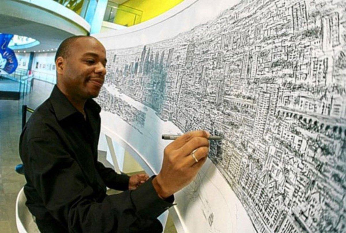 Художник-аутист рисует невероятно точные панорамы мегаполисов