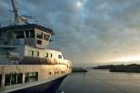 Il primo traghetto in partenza all'alba per Horesund