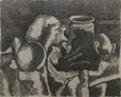Natura morta con panneggio 1931 - acquaforte