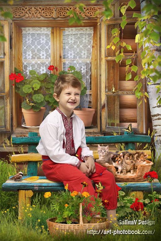 Коллаж На скамейке у избы (с фото) » Детские PSD ...