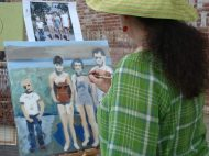 Dianne Jean Erickson paints outside the LodeStar, corner of 3rd and California