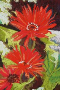 Red Gerberas, Pastel by Linda Evans