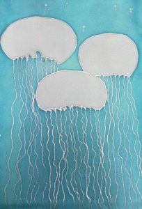 Dreams of Jellyfish, handpainted silk wall hanging by Judy Elliot, Dragonfly Designs West