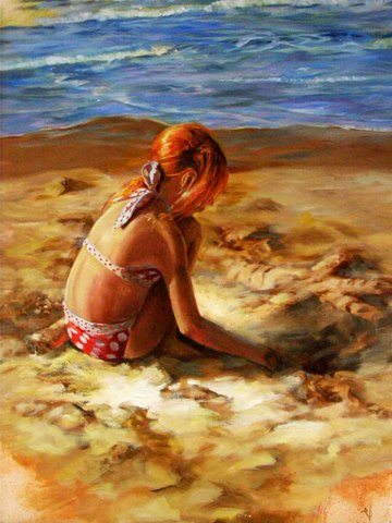 LIttle Girl by the Sea, oil painting by Veronica Thomas