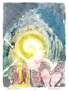 "Afterglow, monotype print from the ""The Anti-Cupid and Other Tales of Woe"" series by artist Catie Faryl."