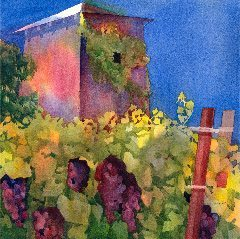 """Napa Vineyard,"" watercolor by Anne Brooke"