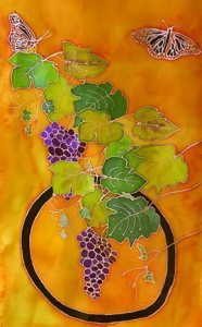 """Wine Grapes and Butterflies,"" Handpainted Silk Wall hanging by Judy Elliott"