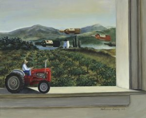 Untitled painting of a vineyard harvest with tractor by Katharine Gracey