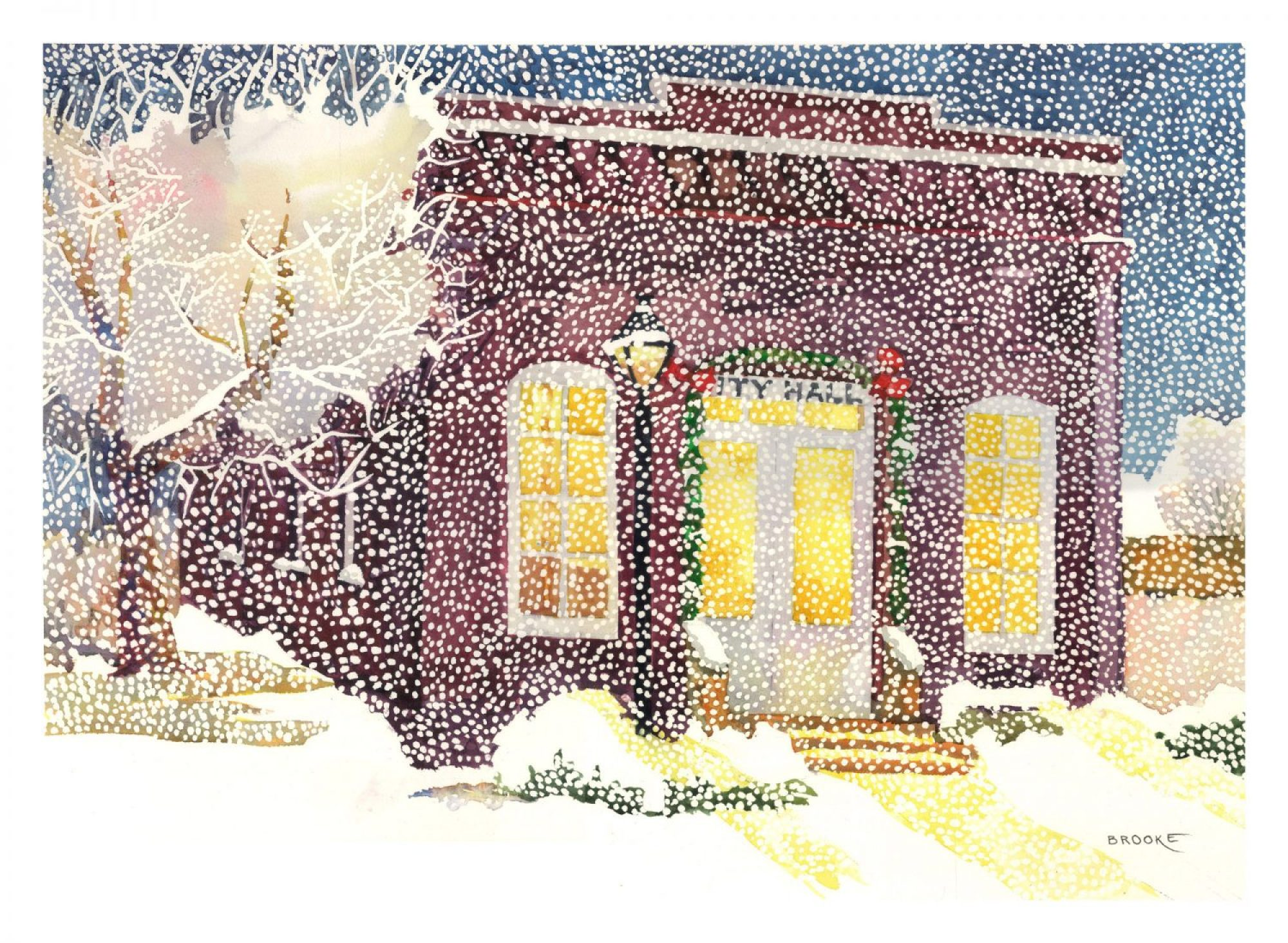 Snowing on City Hall, 1